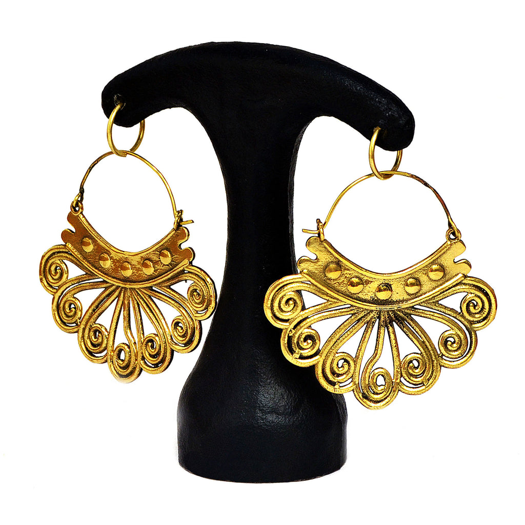 Large tribal brass earrings