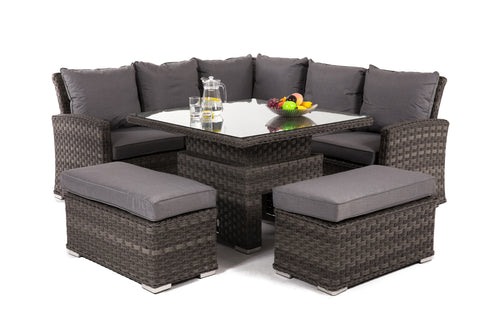 Rattan Victoria Corner Bench Set with Rising Table
