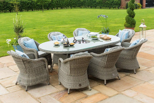 Rattan Oxford 8 Seat Oval Ice Bucket Dining Set with Heritage Chairs and Lazy Susan