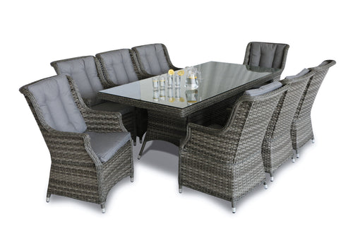 Rattan Victoria 8 Seat Rectangular Dining Set with Square Chairs
