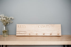 Oak Key & Coat Rack