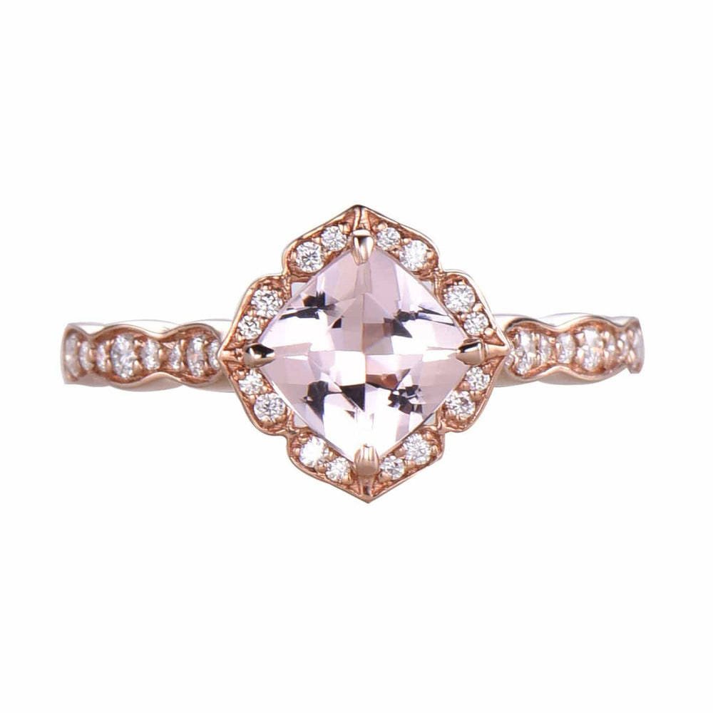 Cushion Cut 7mm Morganite Ring Milgrain Engagement Ring Anniversary Gift
