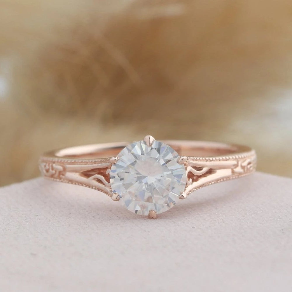 925 Sterling Silver - Vintage Filigree 1CT Moissanite Engagement Ring