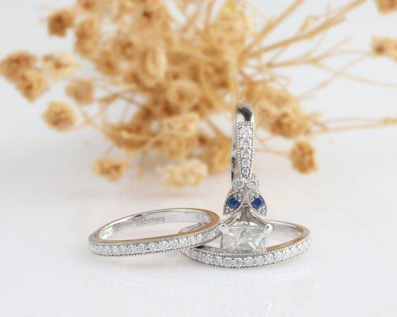 Princess Cut 2 CT Esdomera Moissanite Ring, Vintage Filigree Blue Sapphire Ring