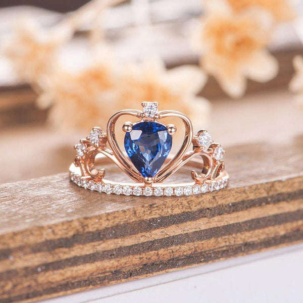 Pear Cut 1.00CT Lab Sapphire Crown Queen Ring Princess Engagement Ring