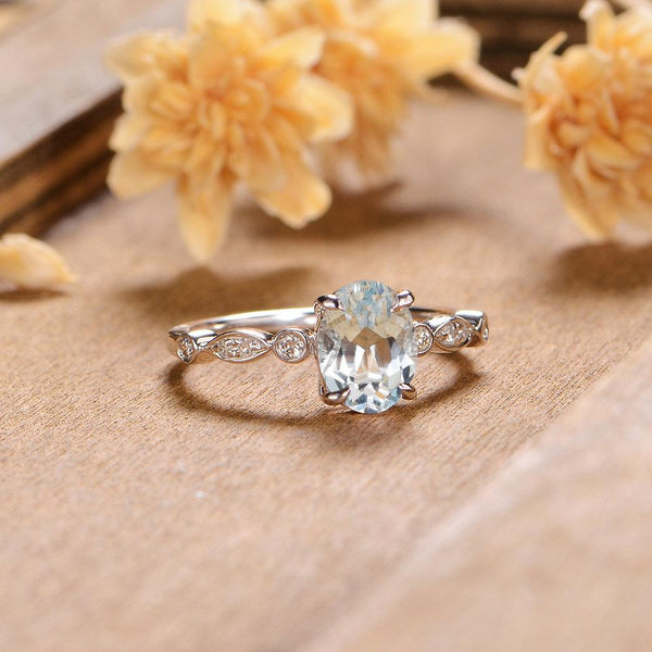 Oval Cut 1.5CT Aquamarine Engagement Ring Art Deco Marquise Stack Ring