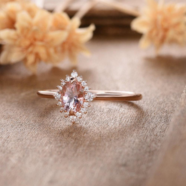 Oval Cut 5x7mm Halo Morganite Engagement Ring Moissanite Halo Wedding Ring