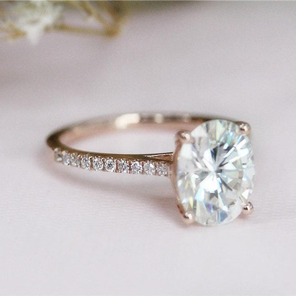 925 Sterling Silver - Oval Cut 7x9mm Accents Moissanite Engagement Ring