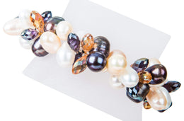 Double Strand Twisted with Crystal Freshwater Pearl Bracelet-Pearl Rack