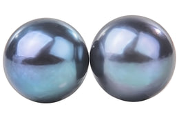 Peacock Blue Freshwater Pearl Stud Earrings Sterling Silver 10mm-Pearl Rack
