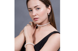Single Strand White Freshwater Pearl Necklace and Bracelet Set 9-10mm-Pearl Rack