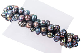Triple Strands Twisted Peacock Freshwater Pearl Bracelet-Pearl Rack