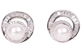 White Cultured Freshwater Pearl Earring Studs Sterling Silver 8mm-Pearl Rack