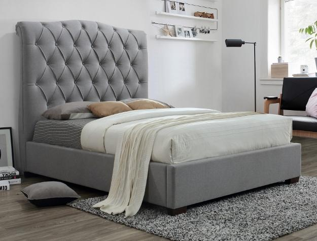 Upholstered Grey Tall Headboard Bed - Save on Mattresses Outlet