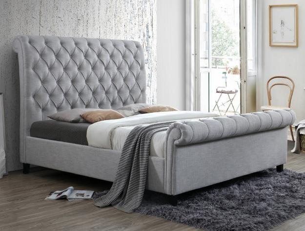 Upholstered Sleigh Bed - Save on Mattresses Outlet