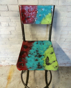 Painted hammered Bar stool - The Cantina
