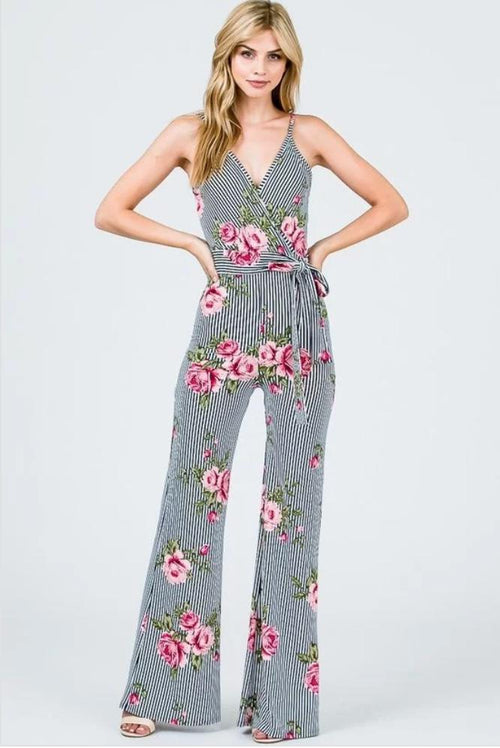 Brooklynista Blue and White Striped Floral Jumpsuit - Jumpsuit - Awoo - BKLYN Bodies