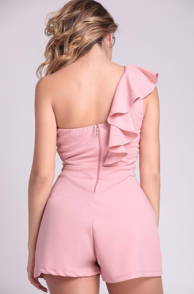 Let's Celebrate Ruffled One Shoulder Pink Romper Playsuit - Playsuit - Symphony - BKLYN Bodies