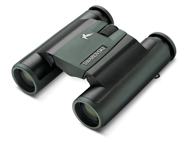 The Swarovski 10x25 CL Pocket Green binocular has an innovative folding double hinge design makes it a perfect binocular for travel.