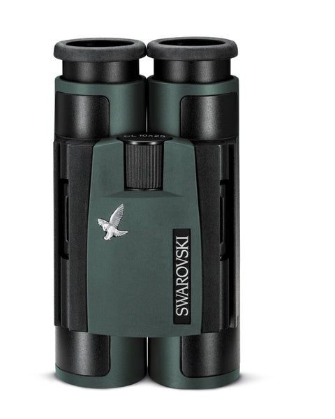 The Swarovski 10x25 CL Pocket Green binocular folds up tightly for easy packing and storage.
