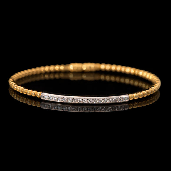 18k Yellow Gold 0.3 ct Diamond Magnet Clasp Bangle Bracelet - Glad Jewelry