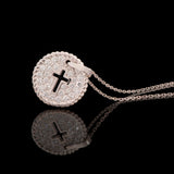 14k White Gold 0.44 ct Diamond Cross Cut Out Circle Necklace - Glad Jewelry