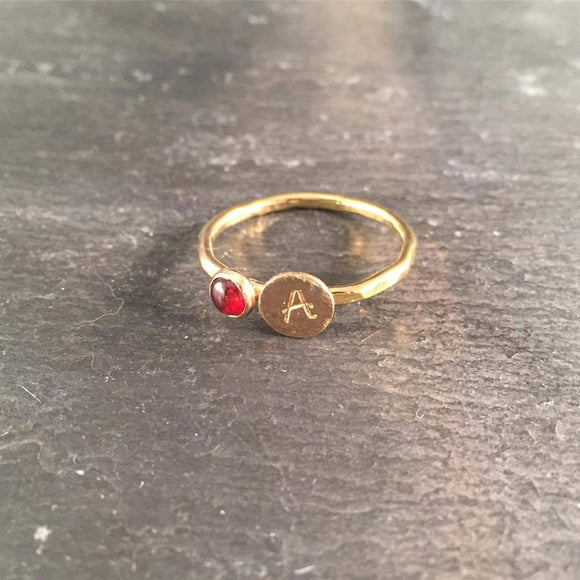 Initial Stacking Birthstone Ring