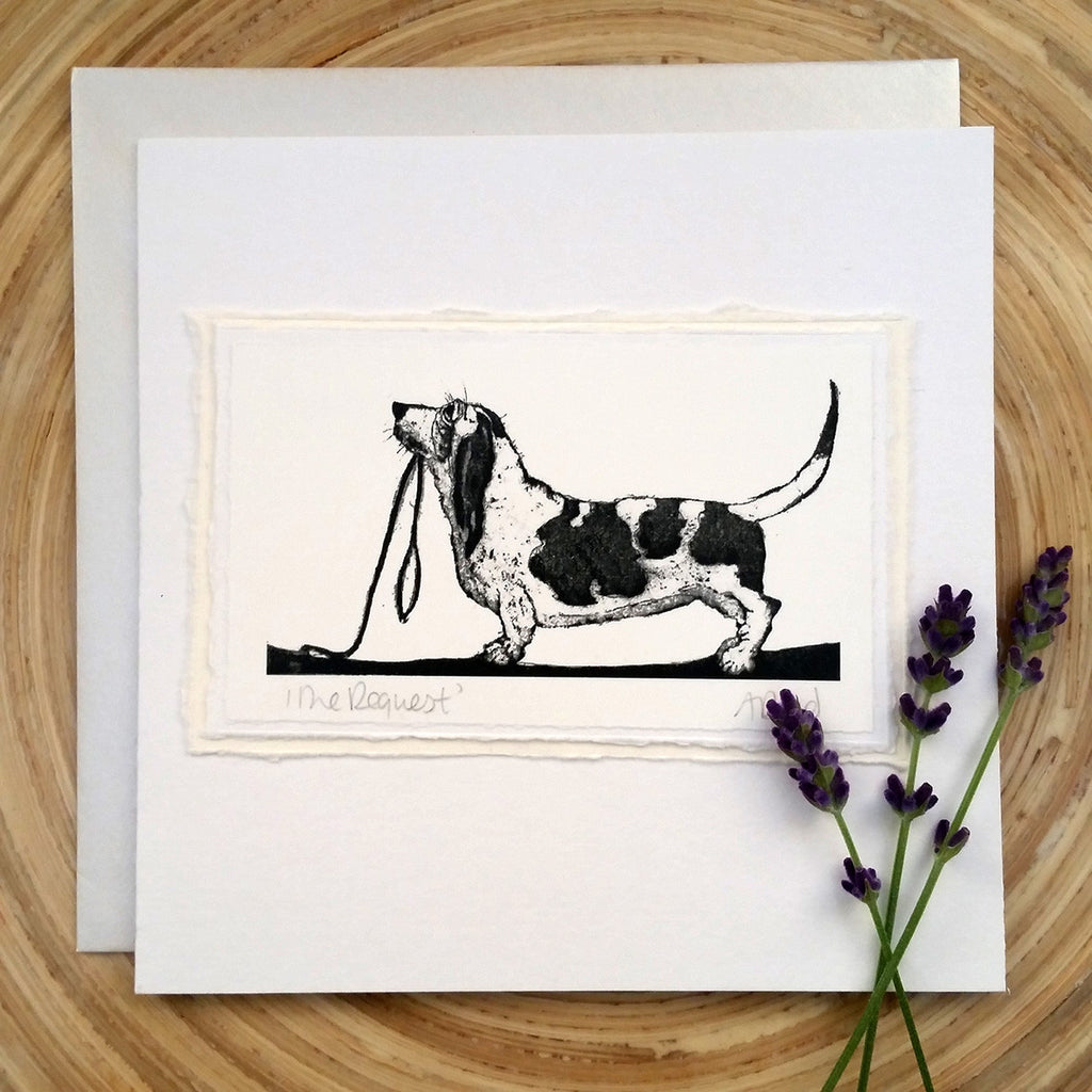The Request - Bassett Hound Greetings Card