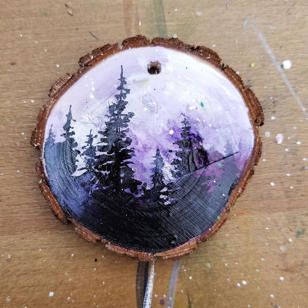 24 Mini Evening Trees Wood Ornament