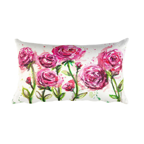 Watercolor Roses Rectangular Pillow