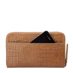 Delilah Large Leather Wallet Tan Croc Emboss