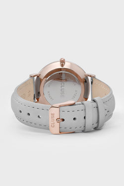 La Boheme Watch Rose Gold White Face Grey Strape