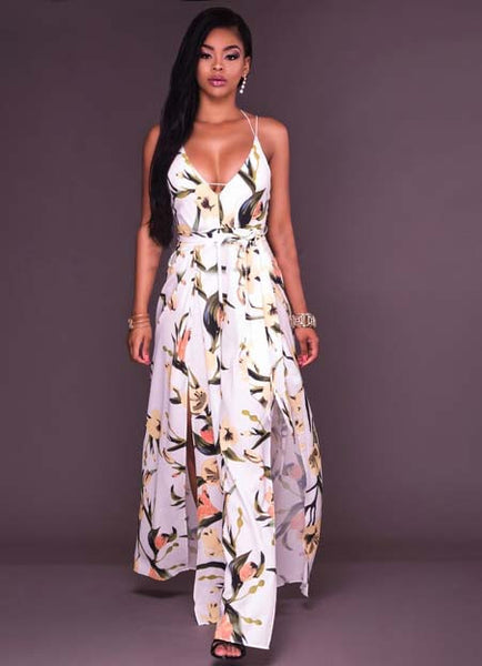 Floral V Neck Backless High Slit Maxi Boho Dress