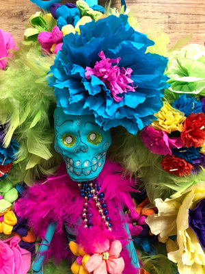 "Day of the Dead Wreath - Mr. Bones 22"" - Bonnie Harms Designs"