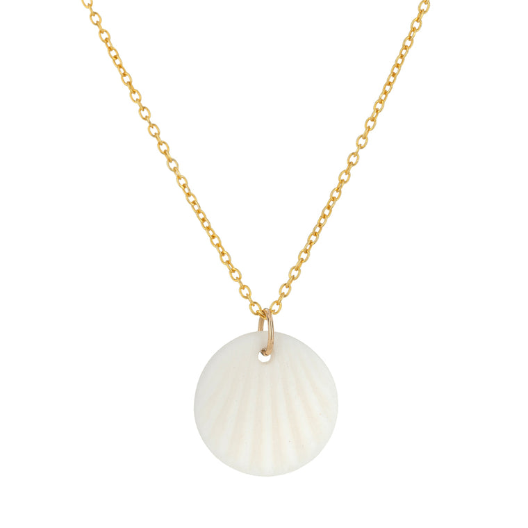One & Eight White Scallop Necklace