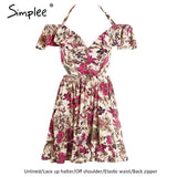 Simplee Halter Off Shoulder Summer Hollow Out Short Dress Elastic Mini High Waist Floral Print Dress