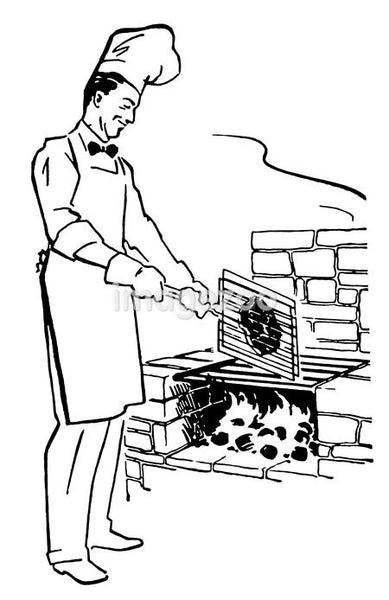 A black and white version of a chef cooking on an barbeque fire