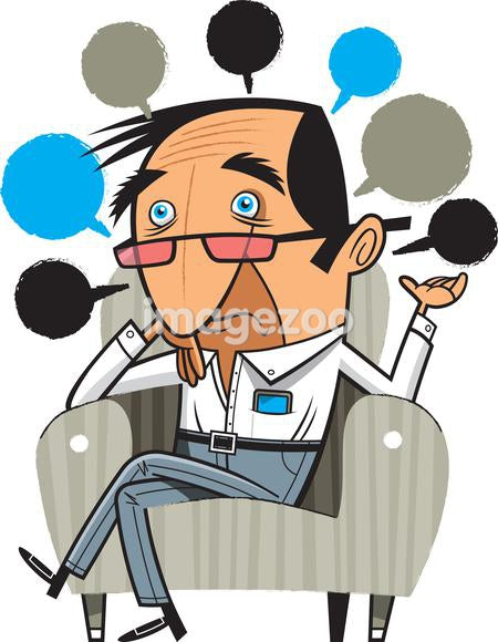 A worried man sitting in a chair with lots of speech bubbles