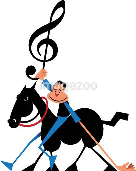 A man on a horse holding up a treble clef