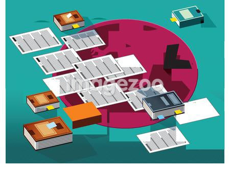 A man organizing his paperwork and books
