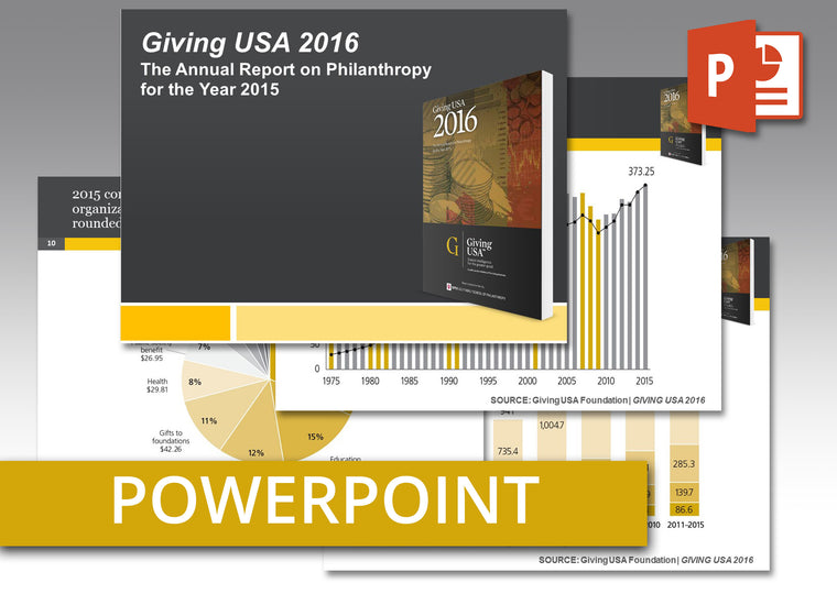 Giving USA 2016 PowerPoint: An easy-to-use presentation of report findings including talking points