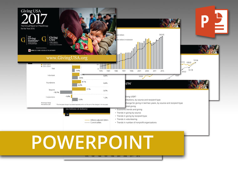 Giving USA 2017 PowerPoint: An easy-to-use presentation of report findings including talking points