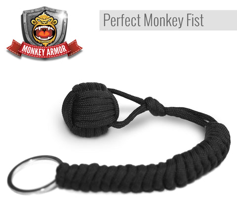 Black Monkey Fist Paracord Keychain