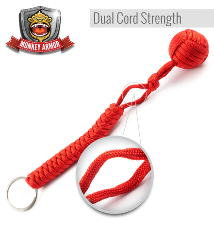 Red Monkey First Keychain - Double Corded For Maximum Stability