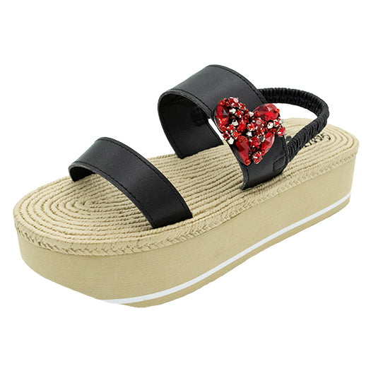 Chelsea Red, red heart waterproof espadrille platform
