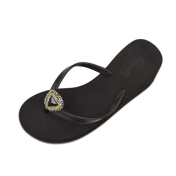 Swarovski Black Onyx Chain Studs - Women's High Wedge