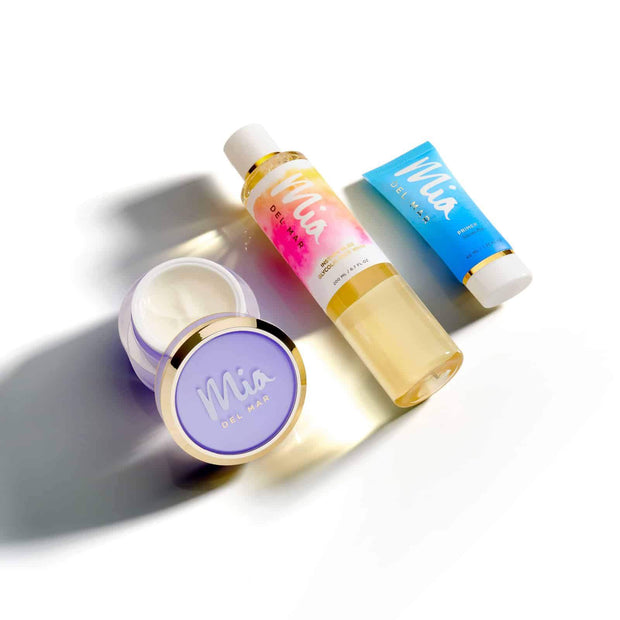 MIA Glow Skincare Essentials includes Overnight Miracle Glow Nightcream, Marvelous Silicone- Free Makeup Primer, instant Bliss Glycolic Face wash