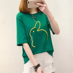 Cute Rabbit Embroidery T-Shirt,artistic bae review, artisticbae reviews, artistic bae reviews, artsy clothing  - Artistic Bae