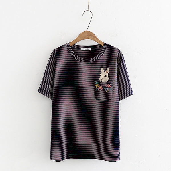 Cute Bunny Floral Embroidery Striped T-Shirt,artistic bae review, artisticbae reviews, artistic bae reviews, artsy clothing  - Artistic Bae