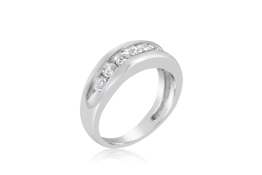 Channel Set Mens Diamond Wedding Band
